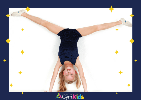 Kids gymnastics - learning handstands - Delta Gymnastics Brisbane, Gold Coast & Barron Valley