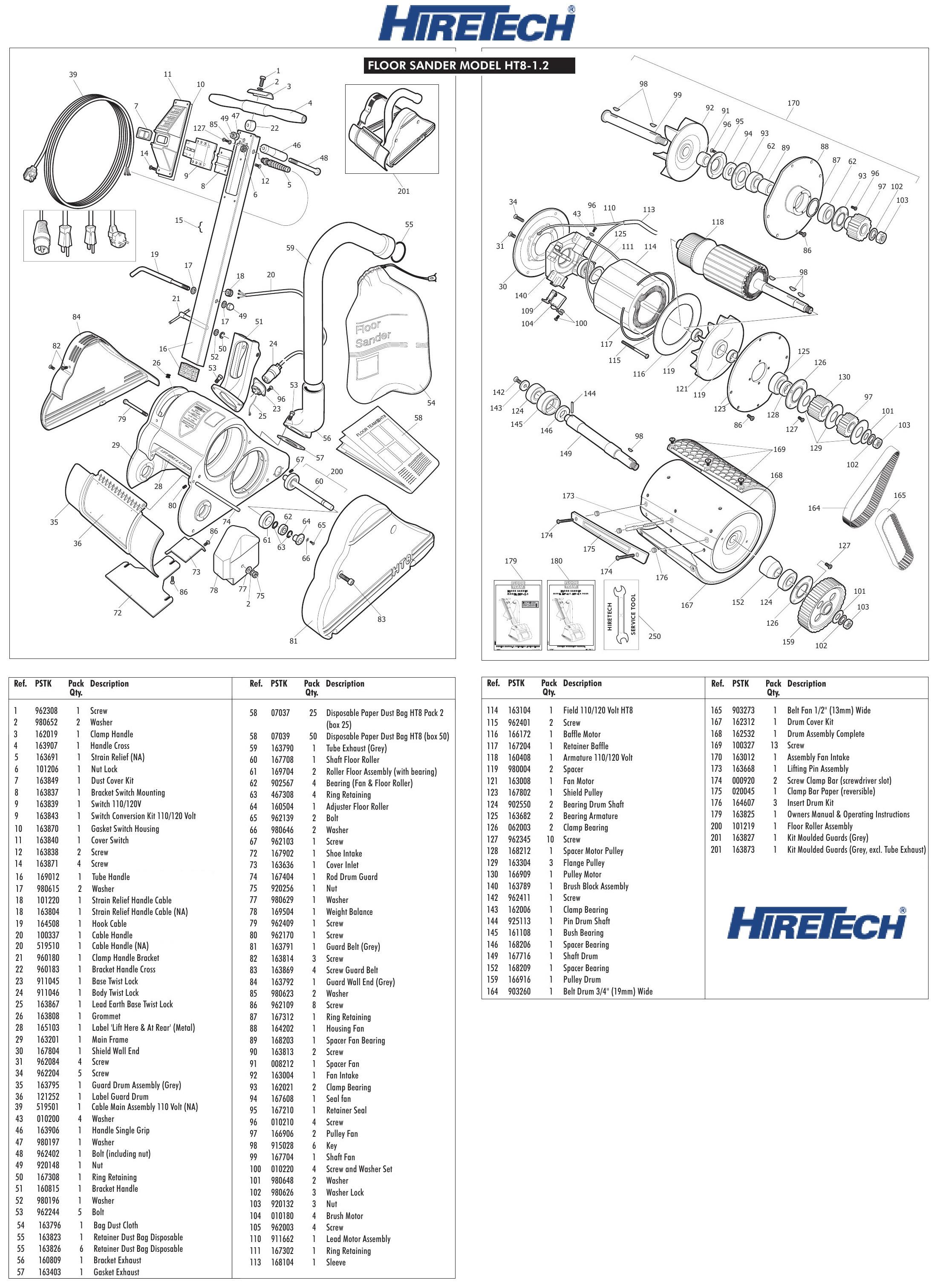 Hiretech Ht8 1 Floor Sander Parts