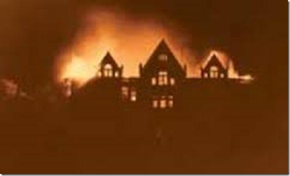 burning of old main