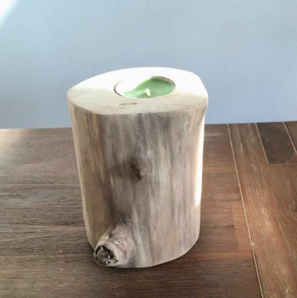 Bougeoir en bois flotté, couleur naturelle, création artisanale Française By Deluxe Créations