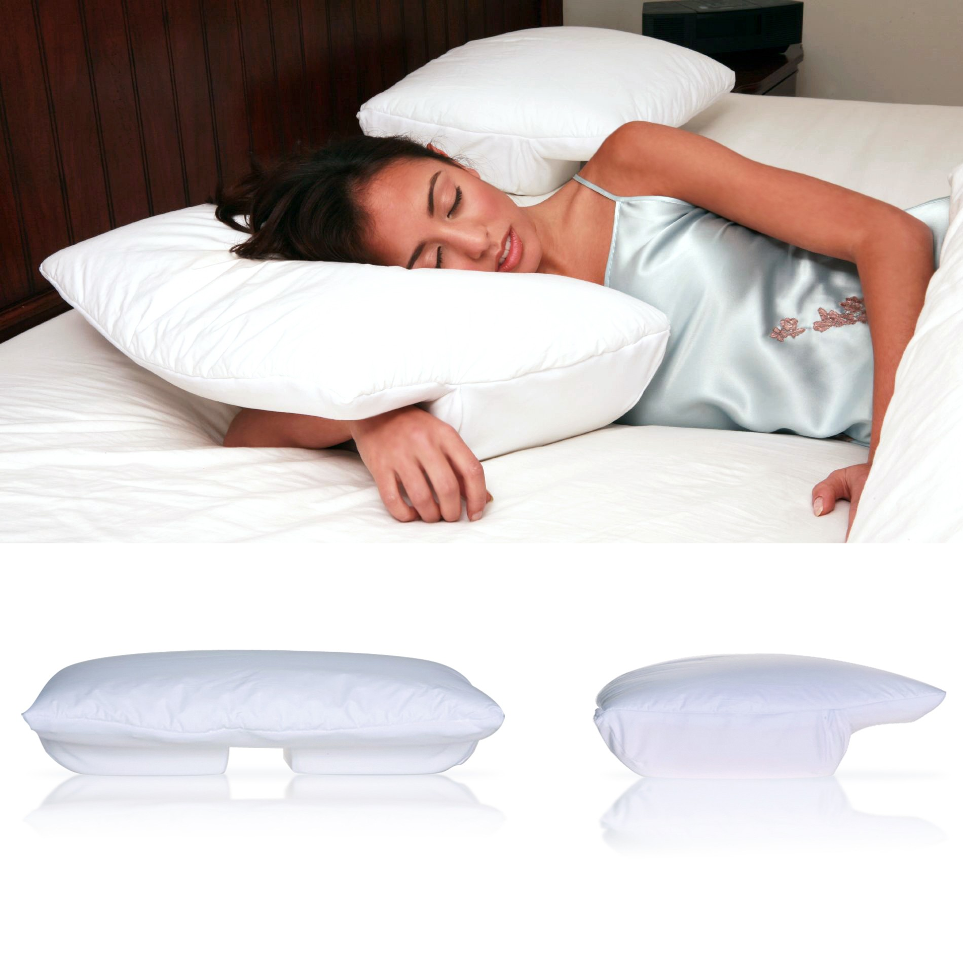 better sleep pillow memory foam 3 5 inch thick foam patented arm tunnel design improves hand and arm circulation neck pain relief perfect side