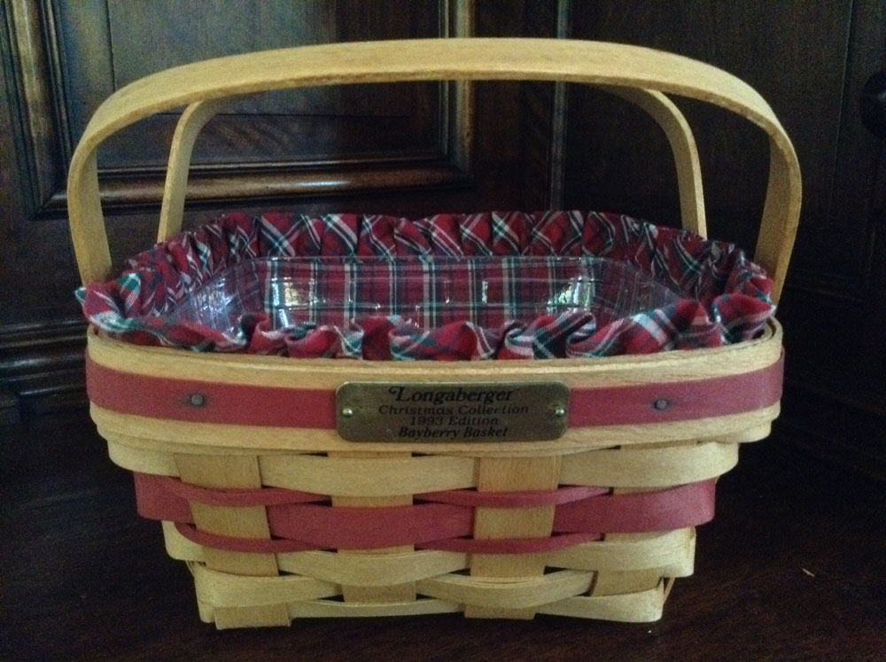 1993 Longaberger Bayberry Basket With Fabric Insert And