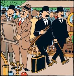 Les Dupondt à la recherche d'un dangereux pickpocket, dans le Secret de la Licorne.