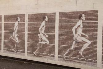 Détail de la fresque sur le stade de Gerland.