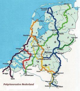 Pelgrimsroutes door Nederland. Beter bekend als de Jacobswegen.