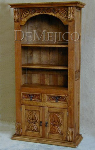 carved pine bookcase
