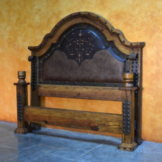 Old Wood Alamo Cincel Bed, Mediterranean Bed, Tooled Leather Bed