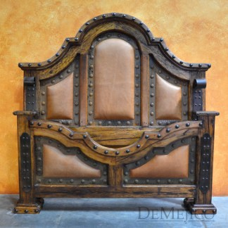 Chapital Leather Bed, Tooled Leather Bed