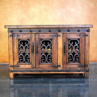 Small Espanola TV Stand, Spanish TV Console, Old Wood TV Stand