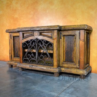 Espanola Cabinet with Iron, Old World Buffet Table