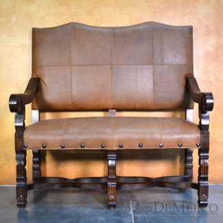 Cristy Spanish Bench, Carved Bench, Spanish Upholstered Bench