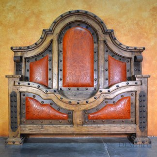 Chapital Cincel Bed, Tooled Leather Bed, Southwest Style Bed