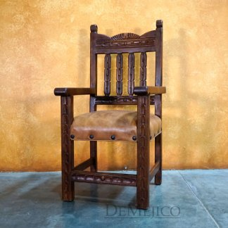 Spanish Carved Kitchen Chair, Silla Santa Fe with Arms