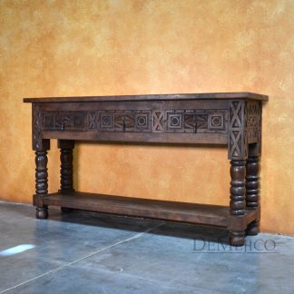 Large Indonesia Sofa Console Table, Mediterranean Carved Console