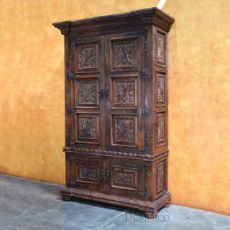 Luis Quince Armoire, Spanish Carved Armoire, Spanish Armoire -Demejico