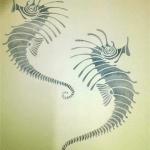 Stencilled seahorses