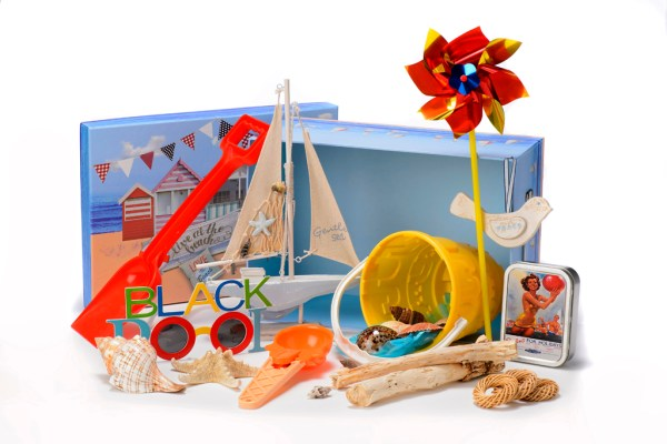 Seaside Reminiscence Basket with Memorabilia and carer guide at www.dementiaworkshop.co.uk