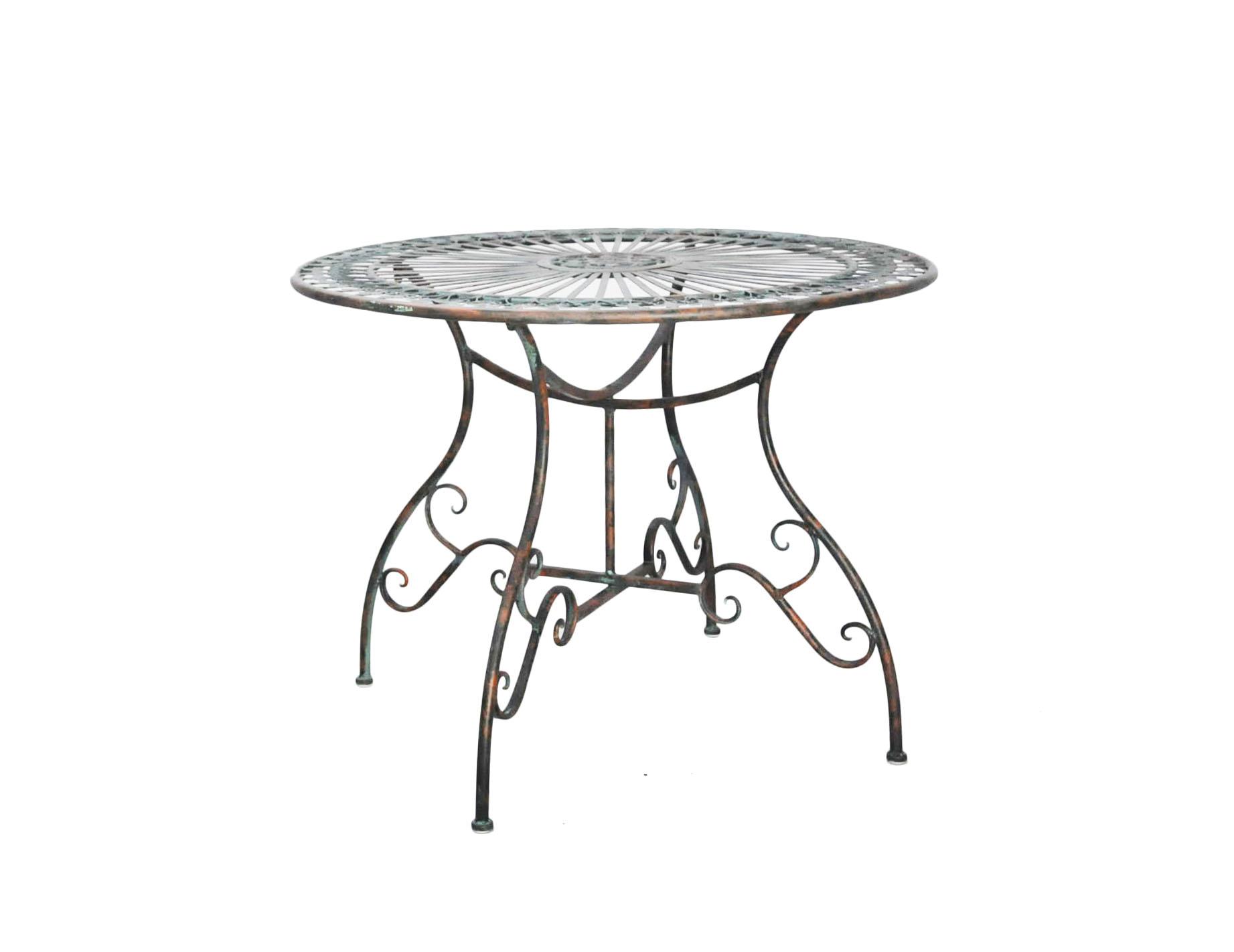 belle table ronde en fer forge vert de gris
