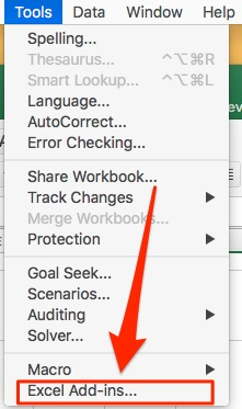 Go to Tools > Excel Add-ins...