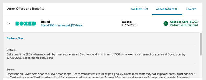 Boxed.com Amex Offer