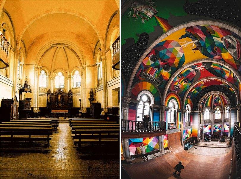 abandoned church skate park kaos temple okuda san miguel 1 - Igreja abandonada de 100 anos transformada em parque de skate com tema de graffiti
