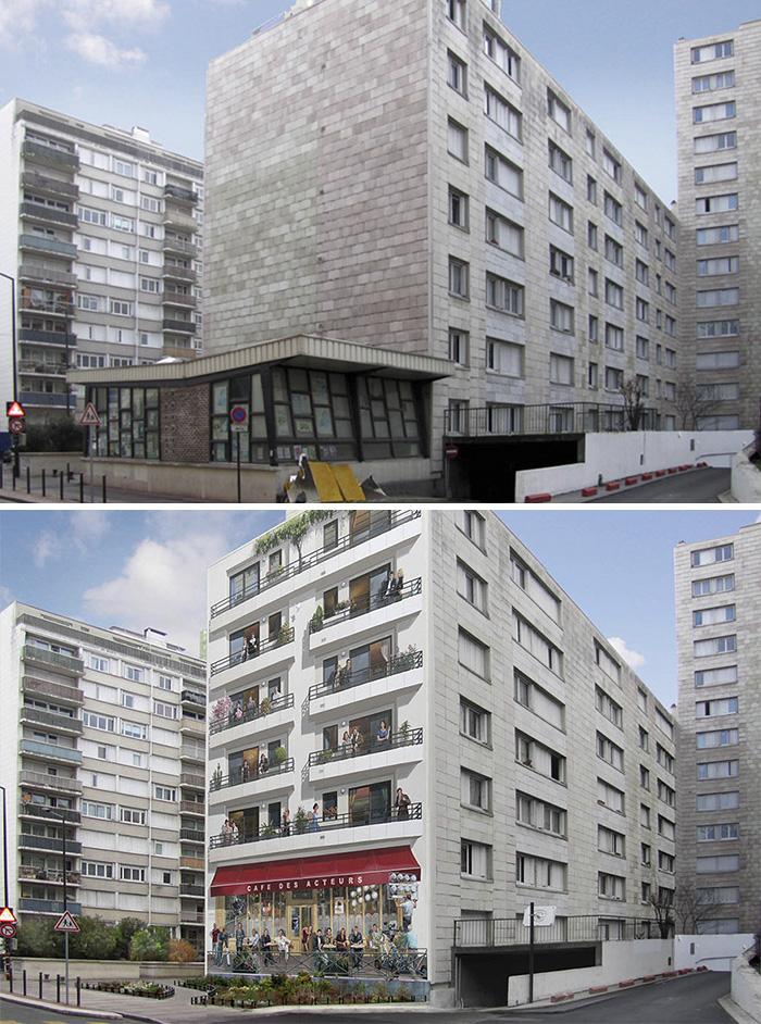 street art hyper realistic fake facades patrick commecy 26 - Artista francês transforma fachadas de prédios em desenhos cheios de vida