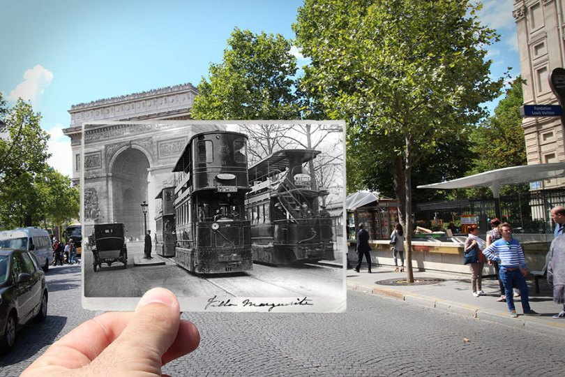 old paris past now photography julien knez 1 - Paris no passado nestas fotos justapostas