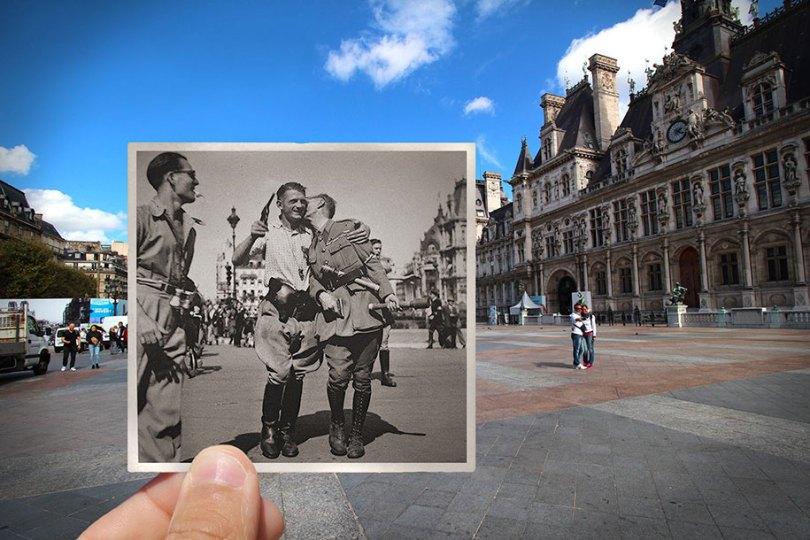 old paris past now photography julien knez 6 - Paris no passado nestas fotos justapostas