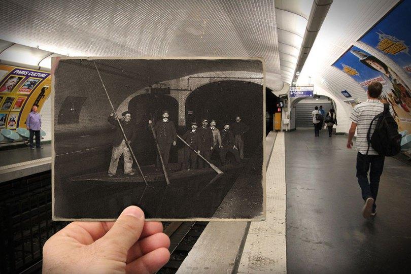 old paris past now photography julien knez 8 - Paris no passado nestas fotos justapostas