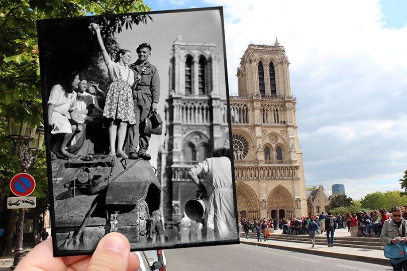 old paris past now photography julien knez 9 - Paris no passado nestas fotos justapostas