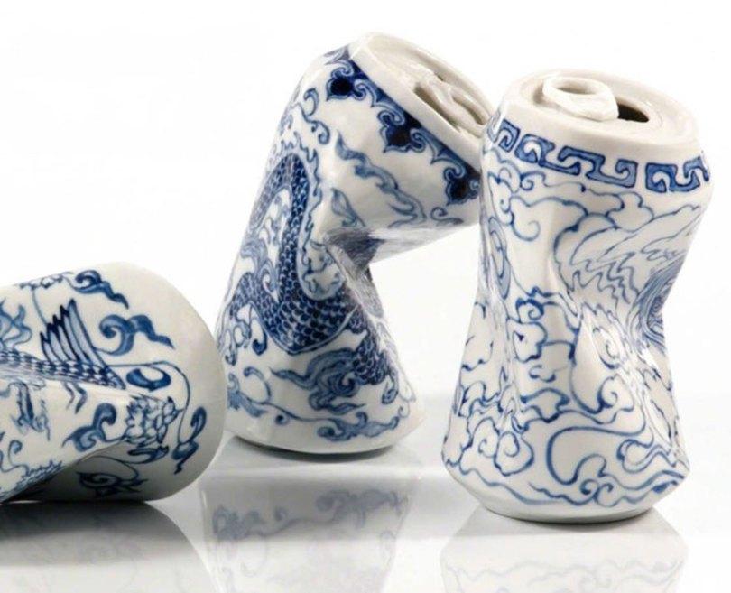 porcelain cans sculptures drinking tea lei xue 3 - Latas de refrigerante esmagadas feitas de porcelana