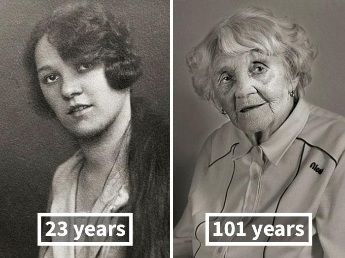 young vs old portraits faces of century jan langer 4 - Impressionante série de retratos: Centenários antes de depois