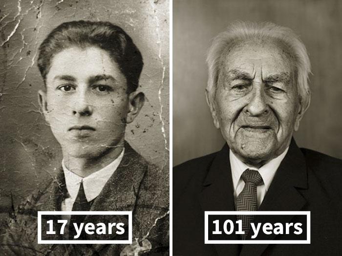 young vs old portraits faces of century jan langer 5 - Impressionante série de retratos: Centenários antes de depois