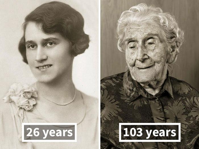 young vs old portraits faces of century jan langer 7 - Impressionante série de retratos: Centenários antes de depois