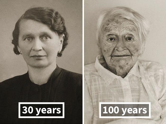 young vs old portraits faces of century jan langer 8 - Impressionante série de retratos: Centenários antes de depois