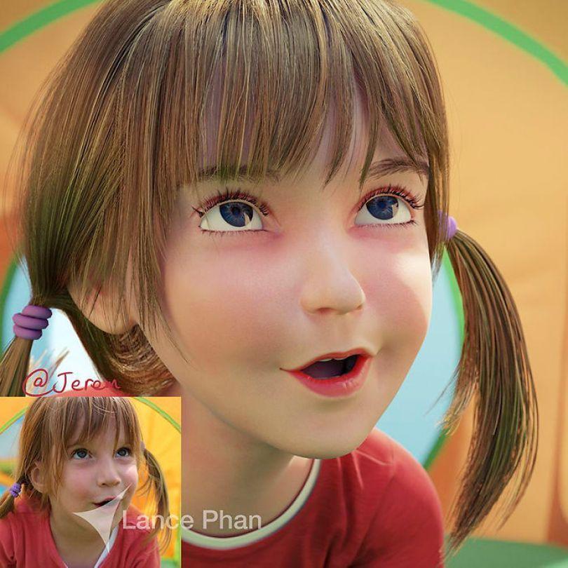 59b695d137ef7 artist transforms strangers 3d cartoons lance phan 16 59b23cb47849c  700 - Você gostaria de se tornar um personagem da Pixar?