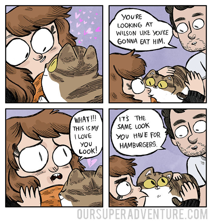 5b6d3bc7265e3-relationship-comics-boyfriend-cats-sarah-graley-illustration-58-5b6ae332ba590-png__700 Artist Creates Hilarious Comics Illustrating Her Daily Adventures With Her Fiancé And Her Four Cats Random