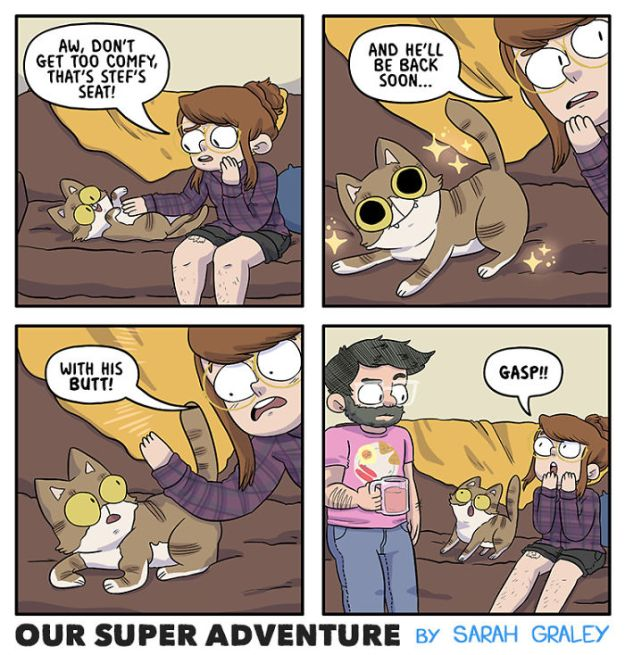 5b6d3bca9ffd9-relationship-comics-boyfriend-cats-sarah-graley-illustration-8-5b6ae2c2c1172-png__700 Artist Creates Hilarious Comics Illustrating Her Daily Adventures With Her Fiancé And Her Four Cats Random