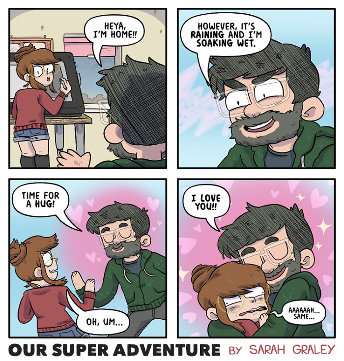 5b6d3bcbb615a-relationship-comics-boyfriend-cats-sarah-graley-illustration-5b6ae6c6a65a4-png__700 Artist Creates Hilarious Comics Illustrating Her Daily Adventures With Her Fiancé And Her Four Cats Random