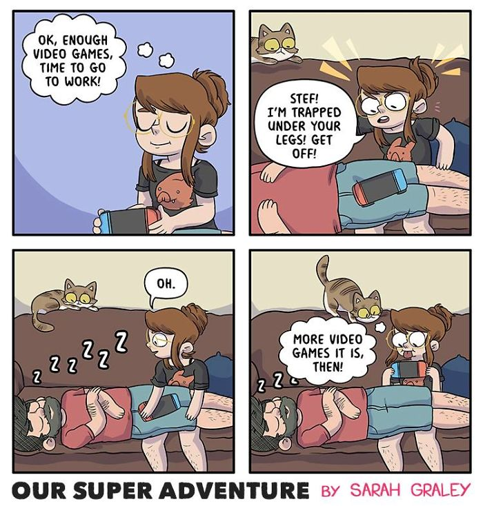 5b6d3bcc580b8-relationship-comics-boyfriend-cats-sarah-graley-illustration-10-5b6ae2c745823__700 Artist Creates Hilarious Comics Illustrating Her Daily Adventures With Her Fiancé And Her Four Cats Random