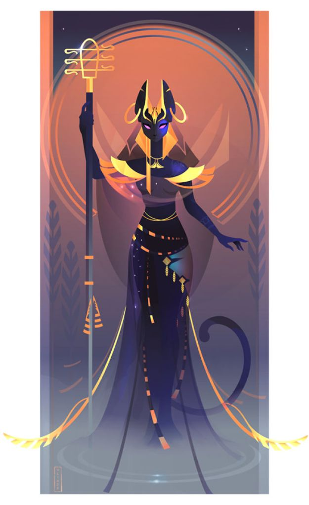 5bcf06eef37a7-1-Bastet-Yliade-5bc6461e9715e__700 This French Artist Created 11 Beautiful Illustrations Of Ancient Egyptian Gods And Goddesses Random