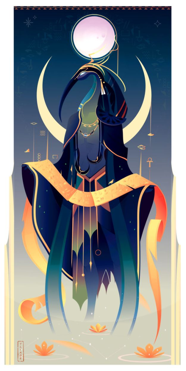 5bcf06efe5e3c-4-Thot-Yliade-5bc64648214a7__700 This French Artist Created 11 Beautiful Illustrations Of Ancient Egyptian Gods And Goddesses Random