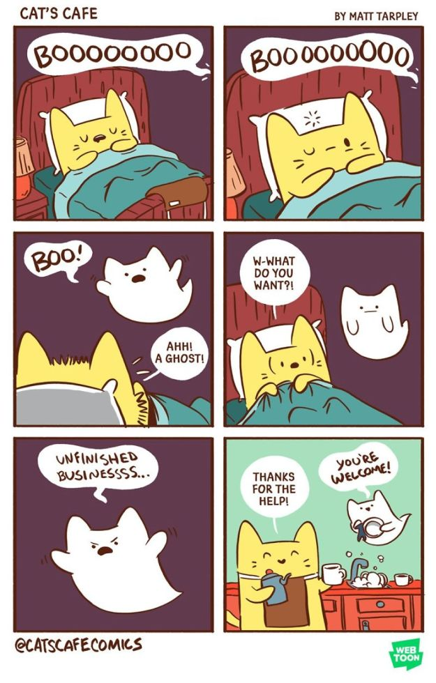 5bf6705f65453-A-Cats-Caf-for-Everyone-5bf3de9717f19__880 47 Wholesome 'Cat's Cafe' Comics That Will Brighten Your Day Random