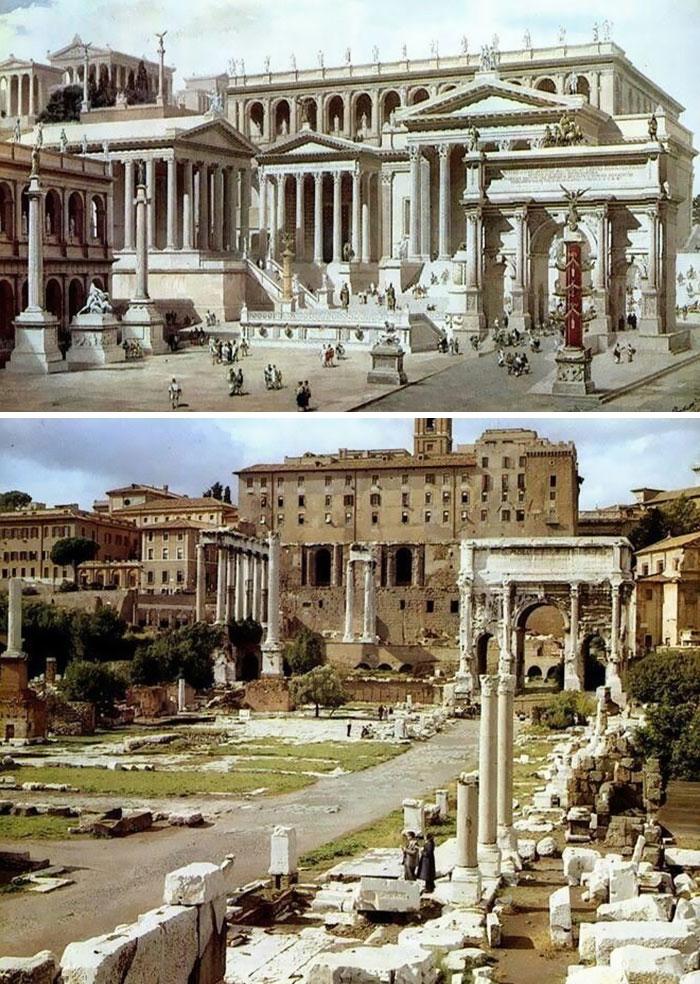 5c9c83467b16e before after roman buildings structures 5c99f912c244d  700 - 11 estruturas antigas dos romanos há 2000 anos como seria na época