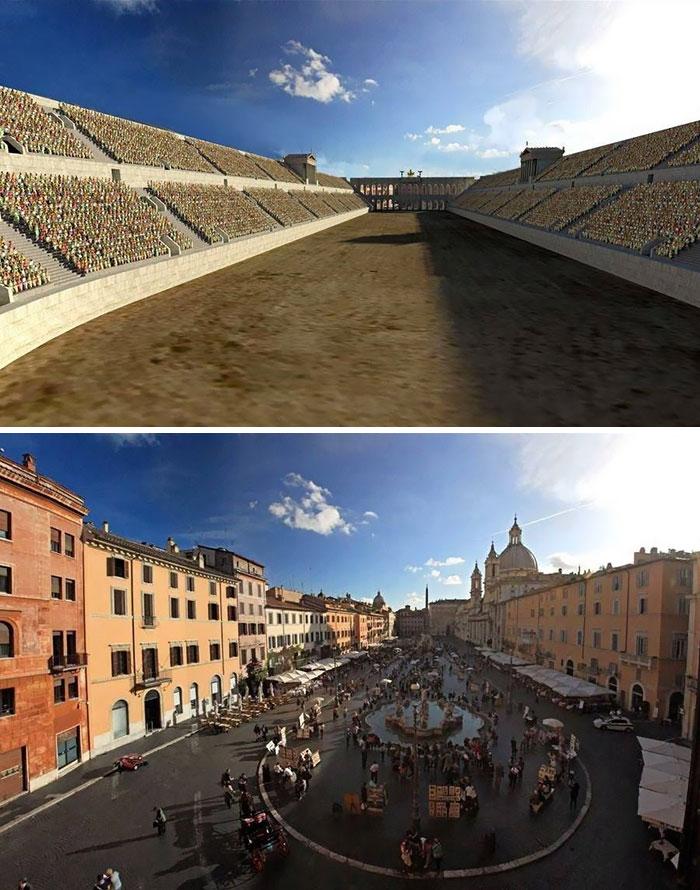 5c9c8346ad67a before after roman buildings structures 5c99f4f54629f  700 - 11 estruturas antigas dos romanos há 2000 anos como seria na época