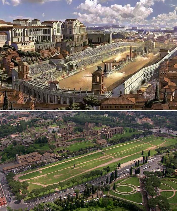 5c9c8346d04f2 before after roman buildings structures 1 5c99f0df11654  700 - 11 estruturas antigas dos romanos há 2000 anos como seria na época