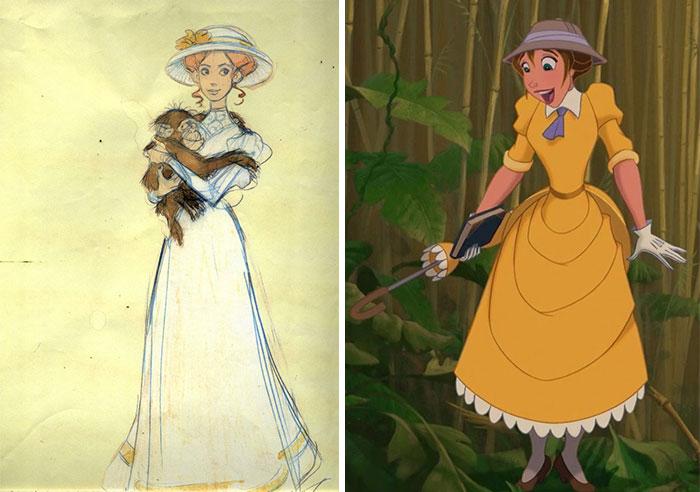 5c9c835d44d40 concept art sketches original compared disney characters 23 5c98935d12df3  700 - Personagens da Disney em comparação com sua arte conceitual original