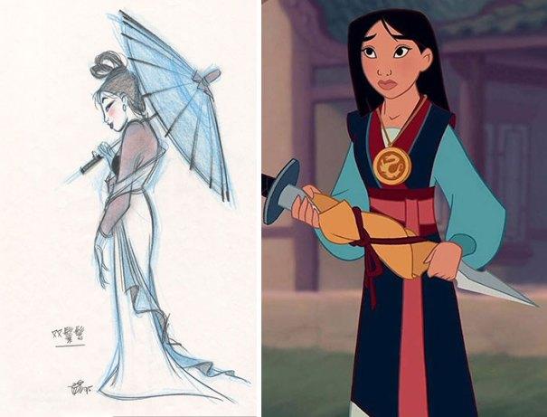 5c9c835e7dac0 concept art sketches original compared disney characters 13 5c98a1156eb35  700 - Personagens da Disney em comparação com sua arte conceitual original