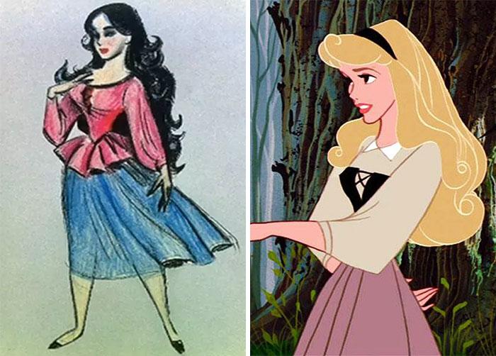 5c9c835f90cf9 concept art sketches original compared disney characters 7 5c9893425a6d3  700 - Personagens da Disney em comparação com sua arte conceitual original