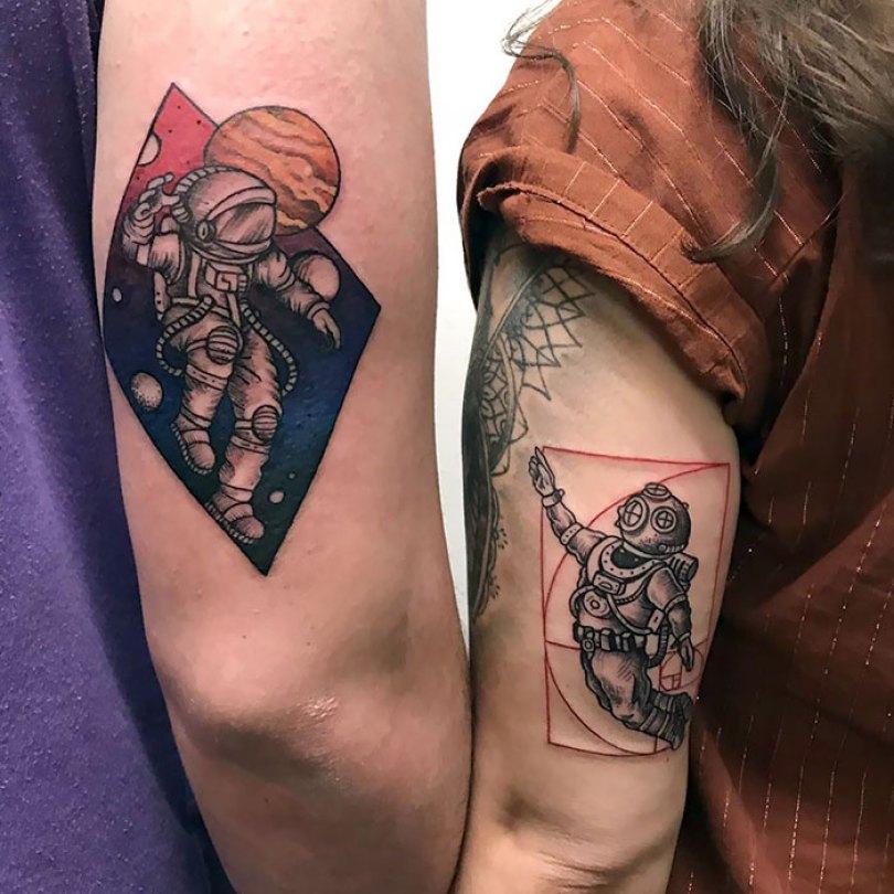 5cee3cdfe2d16 matching tattoo ideas 55 5ce541258b069  700 - 30 criativas tatuagens conectadas entre pessoas